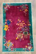Antique Handwoven Authentic Art Deco Chinese Rug Size 3and039x5and039 Circa 1900