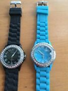 Lot Of 2 Unisex Silicone Rubber Band Fashion Casual Watches - Black - Turquoise