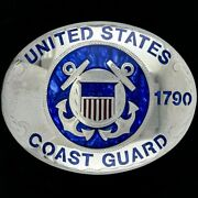 New Johnson Held Us Coast Guard Uscg Auxiliary Gift Silver Vintage Belt Buckle