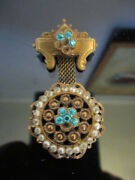 Estate Vintage Victorian Style Gold Tone Rhinestone Seed Pearl Dangle Brooch Pin