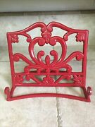 Red Cast Iron And Enamel Cookbook Holder Stand Recipe Book Tablet Scrolls