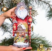 Wooden Hand Carved Santa Claus Figurine 13 Hand Painted Ded Moroz Father Frost