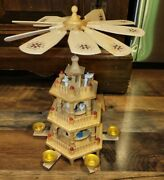 Vintage Weihnachts German Wooden 3 Tier Pyramid Nativity Christmas Carousel