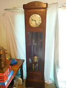 Antique Gustav Becker Grandfather Clock German Oak Arts And Crafts Awesome