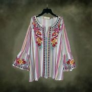 Plus Size Andree By Unit Embroidered 3/4 Sleeve Plaid Boho Tunic Top 1x 2x 3x