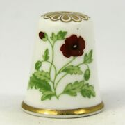 Collectable Fine Bone China Thimble Poppy Flower Of The Year 1985 By Spode
