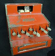 1940's Tin Toy Cash Register - Earl - Unusual Red Color - 1942 Swan Stamp