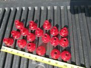 18 Vintage Christmas Light Covers Red Plastic Nice Fits Small Bulbs