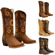 Women Western Cowgirl Cowboy Low Block Boots Embroidered Mid Calf Shoes Size Us