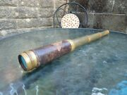 Excellent Antique Victorian Brass 4 Drawer Telescope Working Great Collectable