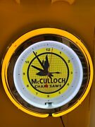 Mcculloch Chainsaw Lumberjack Garage Man Cave Yellow Neon Advertising Clock Sign