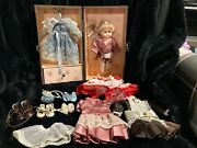 Vintage Wooden Trunk And Doll W/accessories