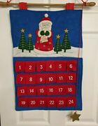 Felt Santa Advent Calendar Count Down To Christmas With Pockets Hanger And Star