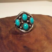 Vintage Navajo Sterling Silver Turquoise Ring Size 8 Signed Ll