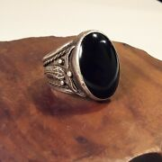 Vintage Sterling Silver Navajo Onyx Ring Signed K. Horse Size 11