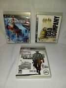 Lot Of 3 Games For Ps3 - Battlefield Bad Company 1and2 Uncharted 2 Among Thieves
