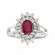 .80 Carat Ruby And .69 Ct. T.w. Diamond Halo Ring In 14kt White Gold
