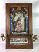 Vintage Viaticum Last Rites Catholic Altar Box W/holy Family And Candle Holders
