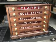 Antique Clark's Red Glass Six Drawer Cherry Spool Cabinet