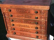Antique Cherry Clark's Six Drawer Spool Cabinet Just How You Like To Find Them