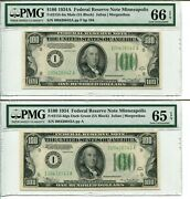 Reverse Changeover Pair Fr. 2153-i/2152-i 100 1934a Mule/1934 Pmg - Rare