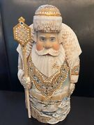 Christmas Santa Russian Wooden Hand Carved Hand Painted Signed 10 In. Tall