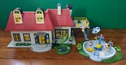 Playmobil Large Lot Modern House 3965 With People Furnitureand Pool Incomplete