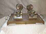 Antique Footed Brass Double Crystal Inkwell Stand Fountain Pen Nib Drawer