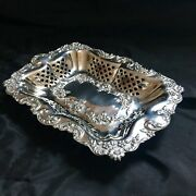 1903 Smith Brothers Solid English Silver Galleried Dish Repoussed And Pierced 206g