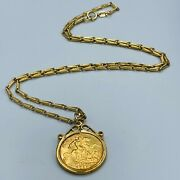 Vintage 9ct Yellow Gold Necklace And 22ct Half Sovereign 1913 L304
