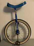 Vintage 70 Unicycle Panasonic Blue And White Made In Japan Circus Tricks W/ Seat