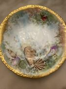 Antique J.p./l Limoges Hand-painted Shells And Gold Trim Detailed Back Bowl Plate