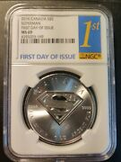 Rare 2016-canada-5 Superman Coin- 1oz.9999 Silver-ms 69-first Day Of Issue
