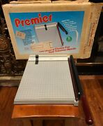 Vintage Premier Paper Cutter Trimmer 12x12 Usa Guillotine P212 Works Great