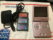 Nintendo Gameboy Advance Sp Pearl Pink Ags-101 System W/ 3 Games - Oem Charger
