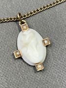 Antique Estate Carved Cameo Real Seed Pearl Necklace 18andrdquo 12k Gold Filled