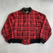 Vintage Union Made In Usa Red Plaid Collared Coat Xl