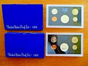 2 1968-s Proof Sets Us Mint Ogp Box 5 Coins With 40 Silver Half Free Shipping
