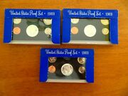 3 1969 S Proof Sets Orig Box Us Mint 5 Coins 40 Silver Kennedy Half Free Ship