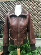 Oasis Ladies Brown Quality Leather Bomber Casual Zip Jacket Size 10