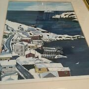 A Original Watercolor Color Lithograph And039lower Batteryand039 Fishing Village Signed
