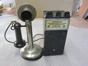 Antique Vintage Grey Telpay Station Hotel Wall Candlestick Pay Phone Parts