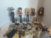 Lot Of 5 Bratz With Clothes And Boots,shoes And Accessories. Wildlife Safari.