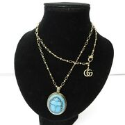 19ss Collection Necklace Pendant Beetle Motif Gold Turquoise Mens W _21938
