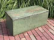 Lg Antique Wooden Six Board Blanket Box Trunk Chest Hand Made Old Green Paint