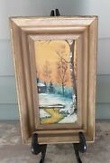 Antique Oil Painting Rural Winter Landscape W/ Cabin Stream Trees Framed Signed