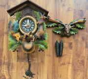 Large West German Stag/hunter Cuckoo Clock - E. Schmeckenbecher- Parts Or Repair
