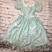 Daisy Kingdom Vintage Dress Girls Sz 14 Teal Blue With Flowers And White Collar