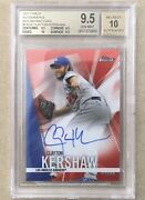 Clayton Kershaw 2017 Topps Finest Auto Red Refractor 5/5 - Bgs 9.5/10 Gem Mint