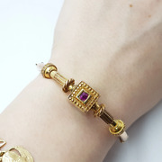 19th Century Antique 12ct Gold And Natural Ruby Bangle 24682